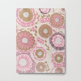 Pink & Gold Flowers Metal Print