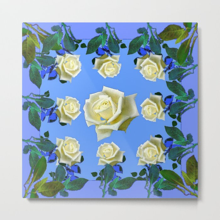 WHITE ROSES BLUE GREEN GARDEN DESIGN PATTERN Metal Print