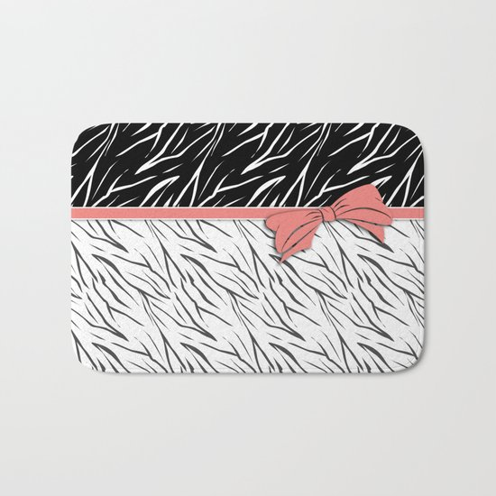 Black and white tiger pattern with pink bow. Bath Mat