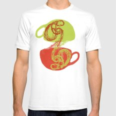 Coffee and tea time White MEDIUM Mens Fitted Tee