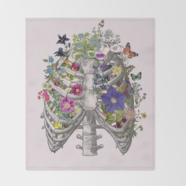 Ribs and flowers Throw Blanket