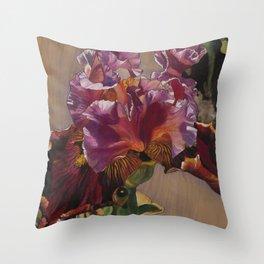 Sunkissed Pink Iris Throw Pillow