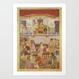 Indian Masterpiece: Jahangir Receives Prince Khurram at Ajmer on His Return from the Mewar Campaign by Balchand  Art Print