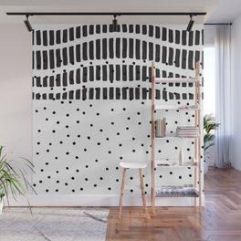 Modern black white  watercolor brushstrokes polka dots Wall Mural