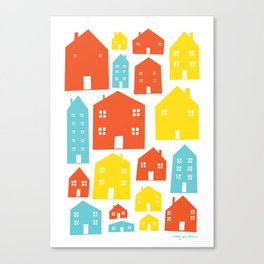 Colourful Scandi Houses Canvas Print