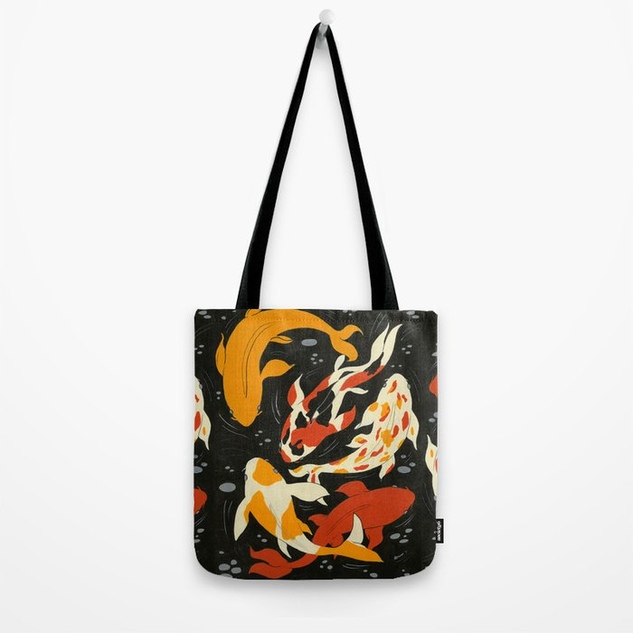 Koi in Black Water Tote Bag