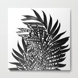 Palm Leaves with Tiger Stripe Glam #3 #tropical #decor #art #society6 Metal Print