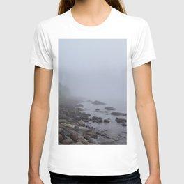 Bluefin Bay, Lake Superior, Foggy Lake, Misty Lake, Lake Landscape, Foggy Trees, Misty Trees T-shirt
