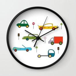 Large Cars Print Wall Clock