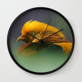 Emerging from the Green: Golden-Red Pheasant Wall Clock
