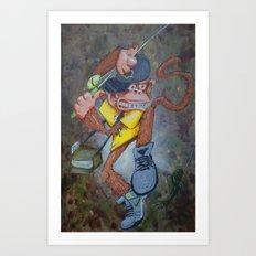 Fisherman Monkey Art Print