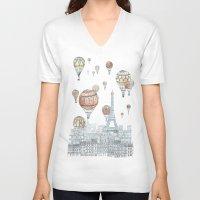 paris V-neck T-shirts featuring Voyages Over Paris by David Fleck