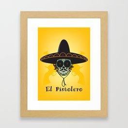 El Pistolero.Mexican sugar skull Framed Art Print