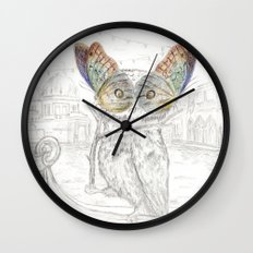 Miss Owl and butterfly friends at the Venice Carnival Wall Clock