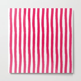 Cherry and White Palm Beach Preppy Cabana Stripes Metal Print
