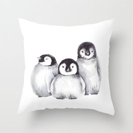 Baby Penguins Throw Pillow