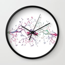 Birds Perched in Tree Wall Clock
