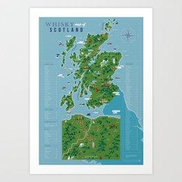 Whisky map of Scotland Art Print