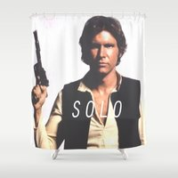 han solo Shower Curtains featuring Han / Solo by Earl of Grey