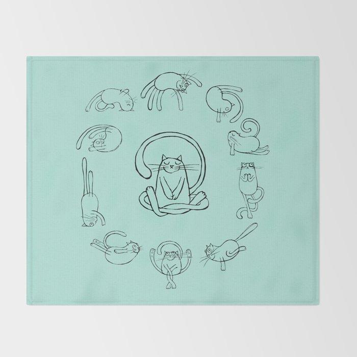 Yoga cats 2 Throw Blanket
