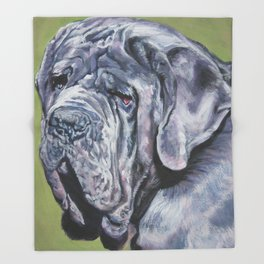 Neapolitan Mastiff dog art portrait from an original painting by L.A.Shepard Throw Blanket