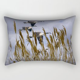Geese flying in for a landing Rectangular Pillow