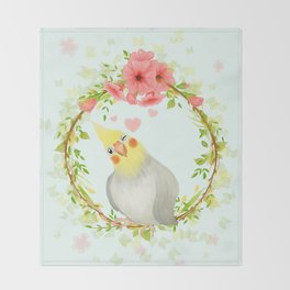 With Love From The Sweetest Cockatiel Throw Blanket