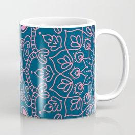 Modern Boho Mandala Medallion in Teal Coffee Mug