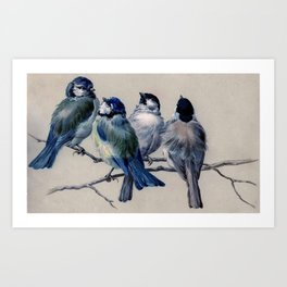Vintage Cute Blue Birds on Branch Art Print