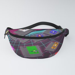 Retro 80s Synthwave Game Cartridge Collage Fanny Pack