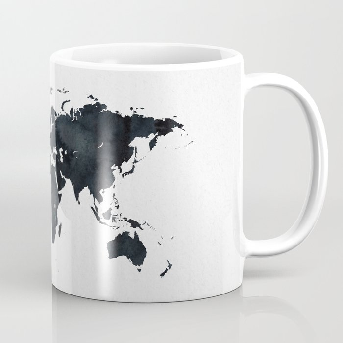 World Map in Black and White Ink on Paper Coffee Mug