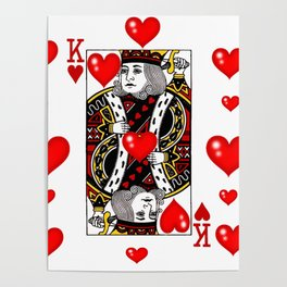 KING OF HEARTS CASINO FACE CARD ART Poster