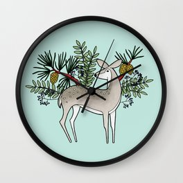 Deer with Pine - Seafoam Green Wall Clock