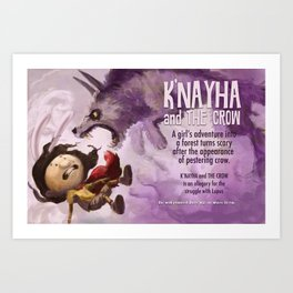 K'nayha and The Crow: Wolf Attack Art Print