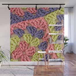 Bright Colored Granny Squares Wall Mural
