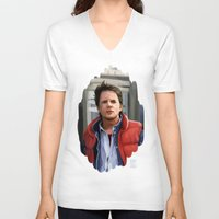 mcfly V-neck T-shirts featuring Marty McFly by Kaysiell