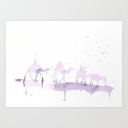 Watercolor landscape illustration_Sahara Art Print