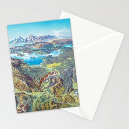 Yellowstone Park and Lake Panorama;  Wyoming, Montana & Idaho landscape painting by Heinrich Berann  Stationery Cards