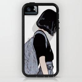 Girl With Backpack Minimalist Digital Art Vector Illustration iPhone Case