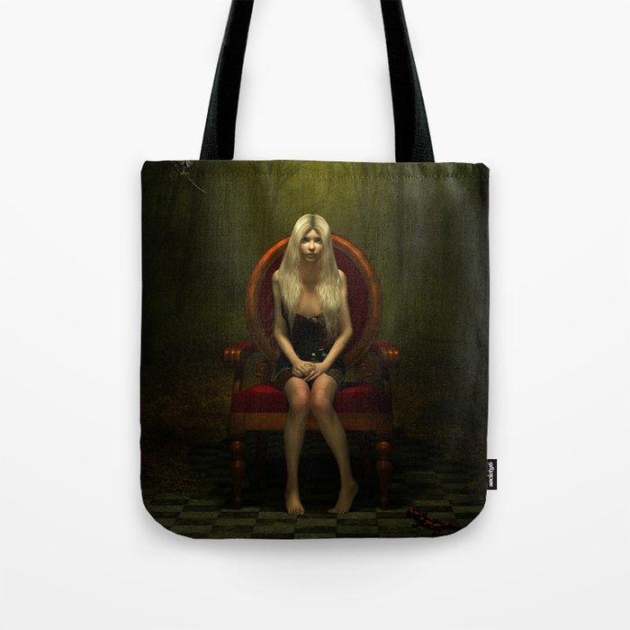 Dark wonderland Alice on a red chair Tote Bag