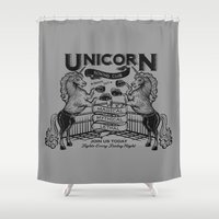 boxing Shower Curtains featuring Unicorn Boxing by Kellabell9