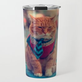Tie Beige Cat Sitting Begging Travel Mug