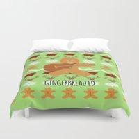 ed sheeran Duvet Covers featuring Gingerbread Ed II by Laura Maria Designs