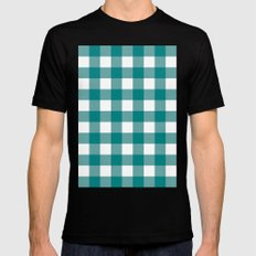 Gingham (Teal/White) MEDIUM Mens Fitted Tee Black