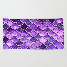 Pantone Ultra Violet Glitter Ombre Mermaid Scales Pattern Beach Towel