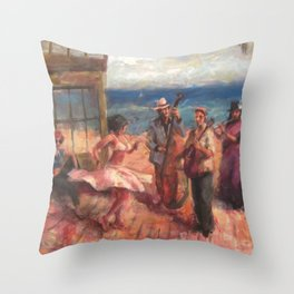gypsy music and dance in the mediterranean sea Throw Pillow