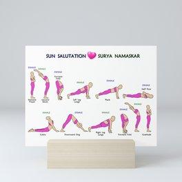 Surya Namaskar, Sun Salutation, Twelve Yoga Asanas In Sequence Mini Art Print