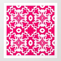 Valencia - Symmetrical Tiling Abstract in Pink and White Art Print