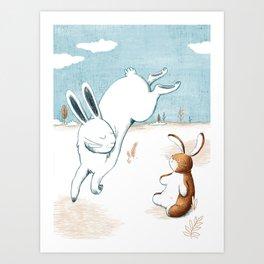 Jumping hare Art Print