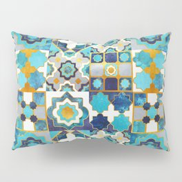 Spanish moroccan tiles inspiration // turquoise blue golden lines Pillow Sham